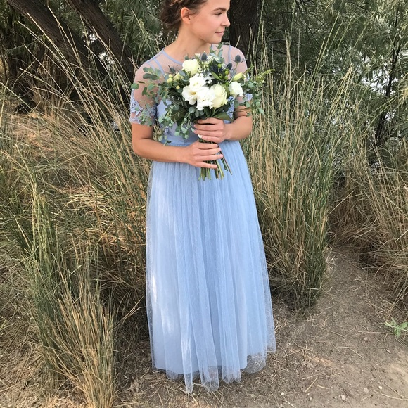 ASOS petite size 4 dusty blue bridesmaid